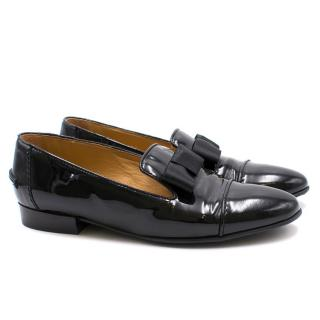 Lanvin Patent Leather Bow Loafers