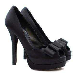 Fendi Black Deco Satin Bow Platform Pumps