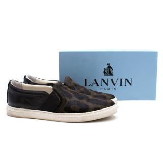 Lanvin Leopard Print Pull On Calf Hair & Leather Sneaker
