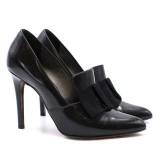 Lanvin Black Bow Loafer Heels