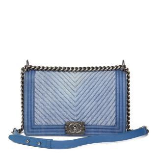 Chanel  Quilted Blue Denim Chevron New Medium Le Boy