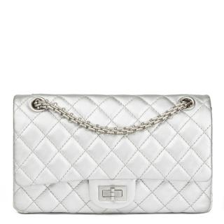 Chanel  Metallic Silver Lambskin 2.55 Reissue 225 Double Flap Bag
