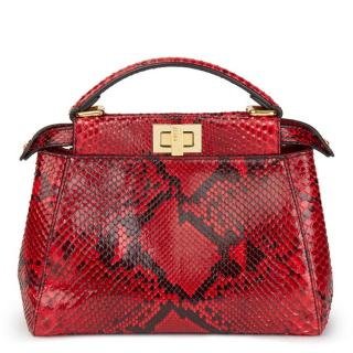 Fendi Red Python Leather Mini Peekaboo Bag