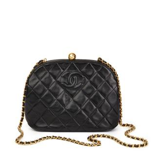 Chanel Quilted Black  Lambskin Vintage Timeless Frame Bag
