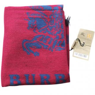 Burberry red blue cashmere scarf