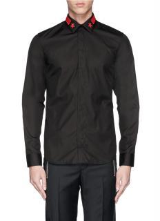 Givenchy Black Red Star & Stripe Collar Shirt