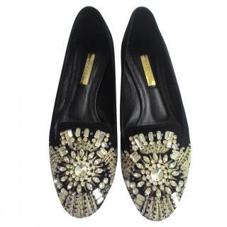 Casadei Black Suede Embellished Jewel Ballet Flats shoes sz37 us7 uk4