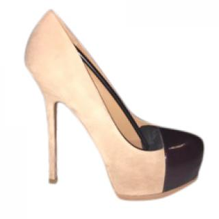YSL suede nude and black tribute pumps
