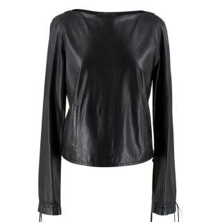 Gucci Black Leather Highneck Top