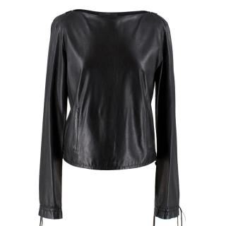 Gucci Black Leather Highneck Top