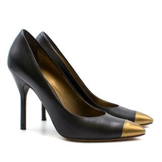 Yves Saint Laurent Black & Gold Pumps