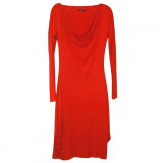 Alexander McQueen red draped dress