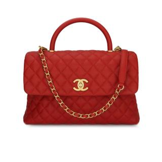 CHANEL Large Red Caviar Coco Handle Bag