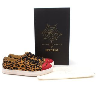 Charlotte Olympia Leopard Print Kiss Me Sneakers
