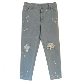 Meadham Kirchhoff  pale blue cotton ragged high waist jeans