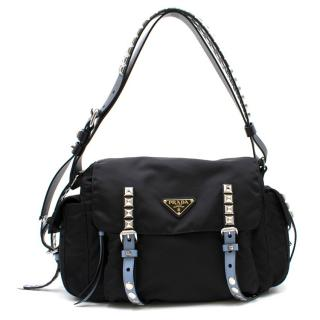 Prada Black Studded Strap Belt Bag