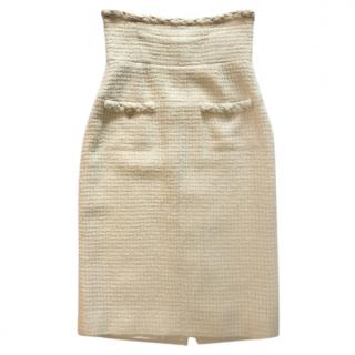 Chanel cream tweed pencil skirt