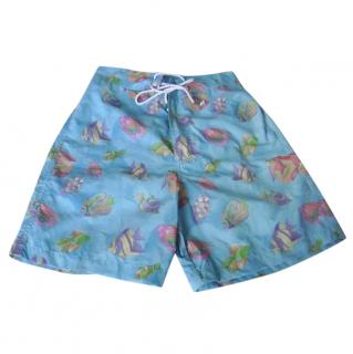 Leonard Paris Blue Fish Motif Swim Trunks