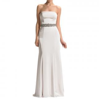 Manon Satin strapless ivory satin gown