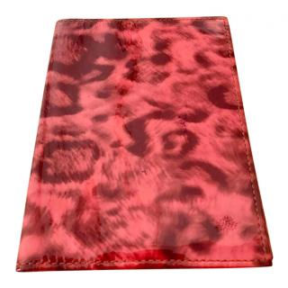 Mulberry Patent Leather Red Leopard Print Passport Holder