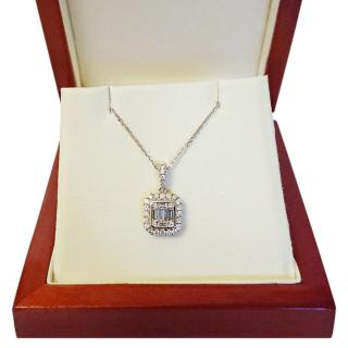 Hatton Garden Baguette & Round Diamond 18ct Gold Pendant