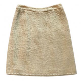 Chanel cream tweed skirt