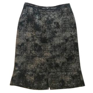 Prada black wool pencil skirt