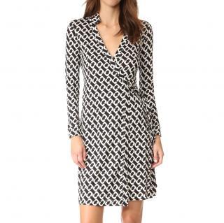 Diane Von Furstenberg Black and White Wrap Dress