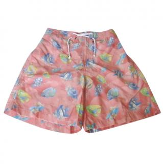 Leonard Paris Coral Orange Fish Motif Swim Trunks
