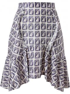 Carven stamp printed silk skirt