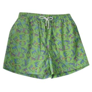 Leonard Paris Lime Green Fish Motif Swim Trunks
