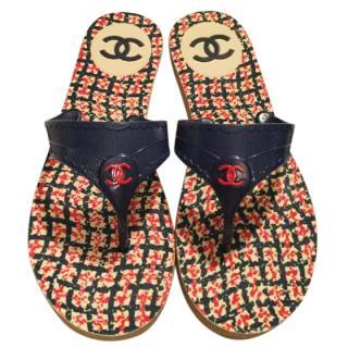 Chanel tweed print sandals