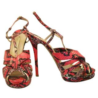 Nicholas Kirkwood Pink Snakeskin Print Sandals