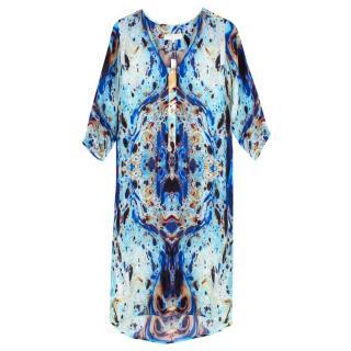 Octavia Hix Novello Midi Marbled Silk Dress