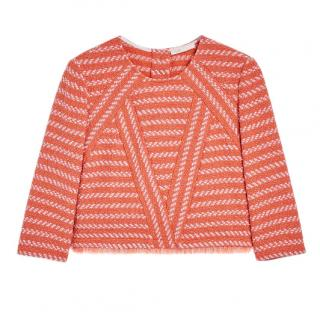 Maje 'Loa' Jacquard Knit Fringed Top