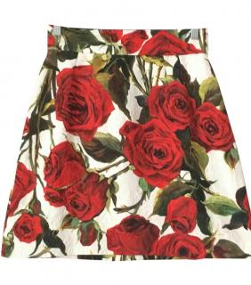 Dolce and Gabbana brocade rose white skirt