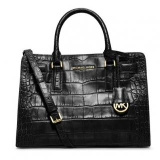 Michael Kors black croc embossed Dillon bag