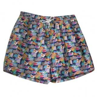 Leonard Paris Flags Motif Swim Trunks