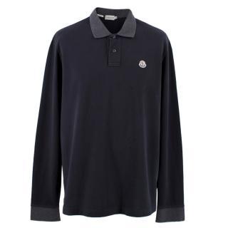 Moncler Men's Navy Long Sleeve Polo Top