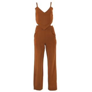 A.L.C Burnt Orange Cutout Crepe Jumpsuit