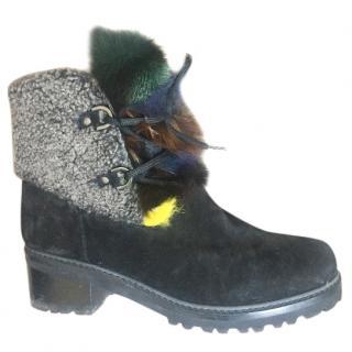 Stuart Weitzman Fur Suede Boots