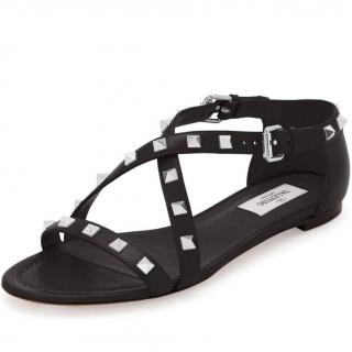 Valentino Rockstud Crisscross Flat Sandal