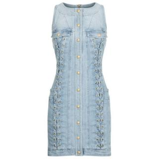 Balmain Denim Lace-Up Dress