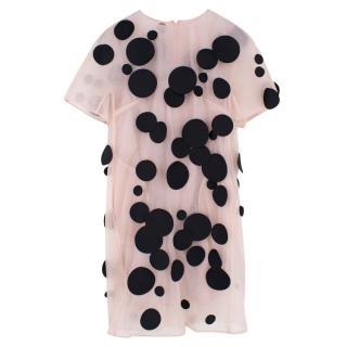 Paskal Pink & Black Dotted Dress