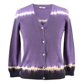 Prada Tie-dye Purple V-Neck Cardigan