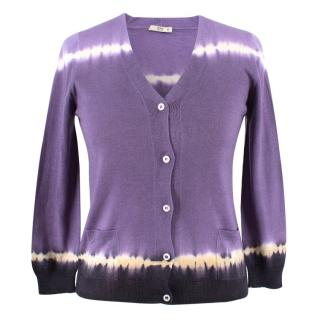 Prada Tie-dye Purple V-Neck Cardigan