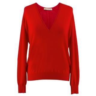 Balenciaga Red V-Neck Sweater
