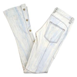 Balmain Pale Blue Washed Denim Flared Jeans