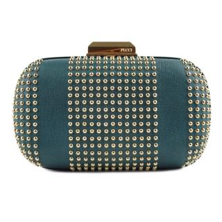 Emilio Pucci Teal Blue Leather Gold Studded Box Clutch