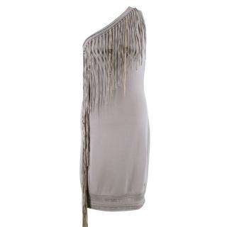 Roberto Cavalli One Shoulder Fringed Dress